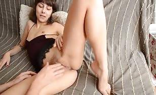 Petite slut fingering her pussy