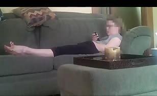 Caught his step sister masturbating