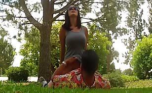 Hot brunette gets banged outdoor