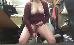 Horny at work and she had to masturbate
